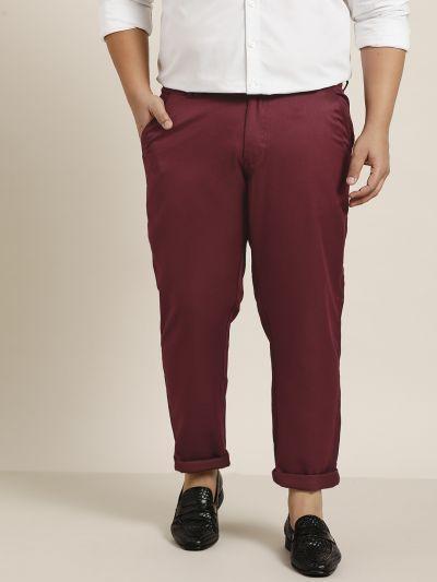 Sojanya (Since 1958) Men's Cotton Blend Burgundy Solid Trousers