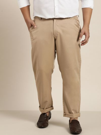 Sojanya (Since 1958) Men's Cotton Blend Khaki Solid Trousers