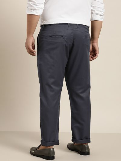 Sojanya (Since 1958) Men's Cotton Blend Charcoal Grey Solid Trousers