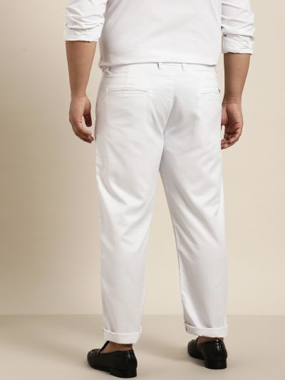 Sojanya (Since 1958) Men's Cotton Blend White Solid Trousers