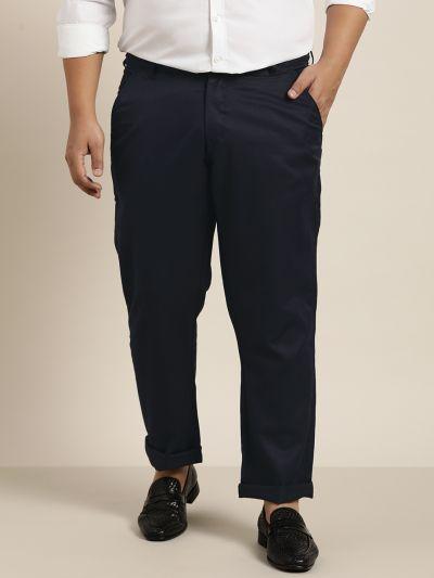 Sojanya (Since 1958) Men's Cotton Blend Dark Navy Blue Solid Trousers