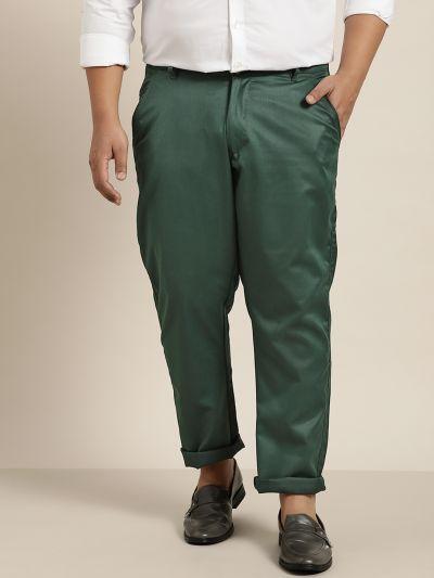 Sojanya (Since 1958) Men's Cotton Blend Bottle Green Solid Trousers