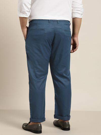 Sojanya (Since 1958) Men's Cotton Blend Teal Blue Solid Trousers