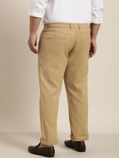 Sojanya (Since 1958) Men's Cotton Blend Khaki Woven Design Trousers