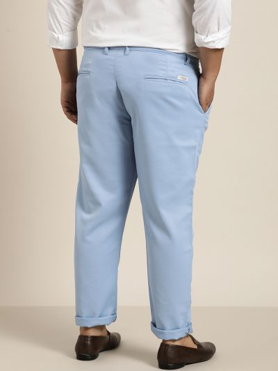 Sojanya (Since 1958) Men's Cotton Blend Blue Woven Design Trousers