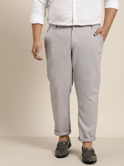Sojanya (Since 1958) Men's Cotton Blend Grey Woven Design Trousers