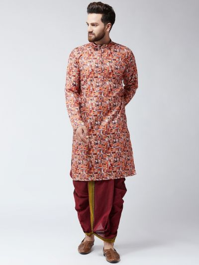 Sojanya (Since 1958), Cotton Orange Print  Kurta and Maroon Dhoti Set