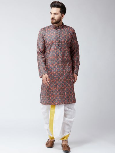 sojanya (Since 1958), Cotton Multi Print  Kurta and White Dhoti Set