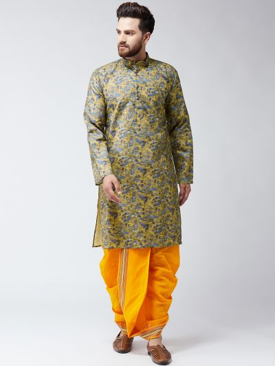 Sojanya (Since 1958), Cotton Multi Kurta and Orange Dhoti Set