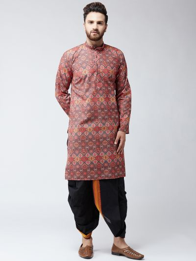 Sojanya (Since 1958), Cotton Multi Print  Kurta and Black Dhoti Set