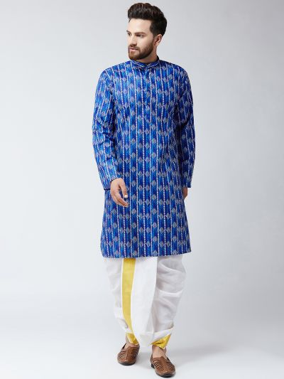 Sojanya (Since 1958), Cotton Print Blue Kurta and White Dhoti Set