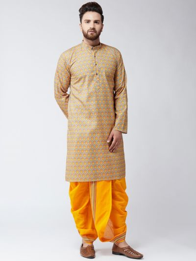 Sojanya (Since 1958), Cotton Multi Print  Kurta and Orange Dhoti Set