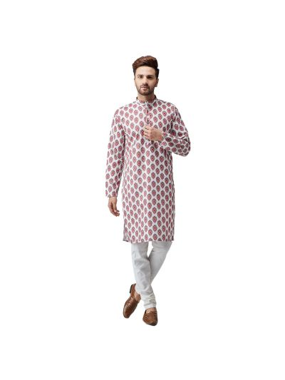 Sojanya (Since 1958), Cotton Linen Multi Kurta and Off White Pyjama Set