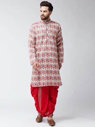 Sojanya (Since 1958), Cotton Multi  Print Kurta and Red Dhoti Set