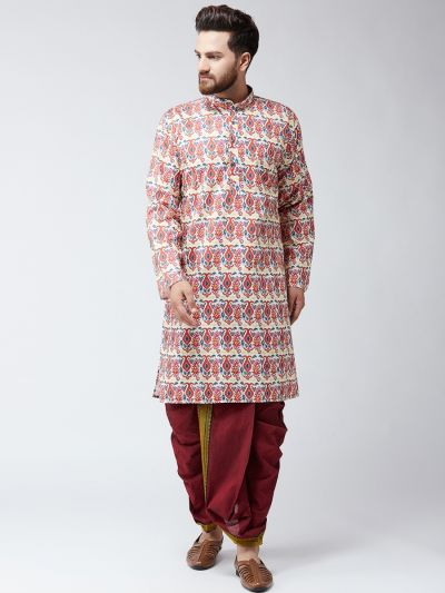 Sojanya (Since 1958), Cotton Multi Print Kurta and Maroon Dhoti Set
