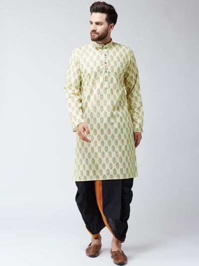 Sojanya (Since 1958), Cotton Print Lime Green Kurta and Black Dhoti Set