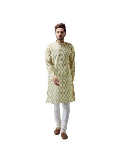 Sojanya (Since 1958), Cotton Linen Lime Green Kurta and Off White Pyjama Set