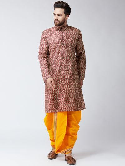 Sojanya (Since 1958), Cotton Print Maroon Kurta and Orange Dhoti Set