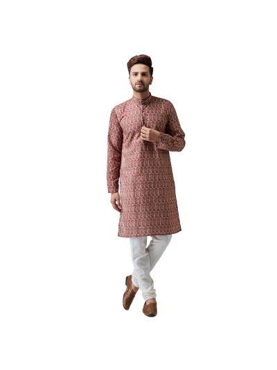 Sojanya (Since 1958), Cotton Linen Maroon Kurta and Off White Pyjama Set