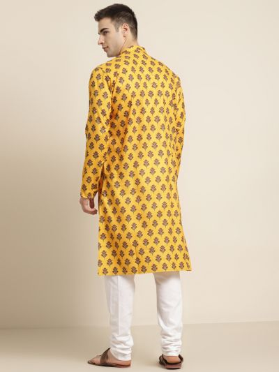 Sojanya (Since 1958) Men's Cotton Mustard Printed Kurta & White Churidar Pyjama Set