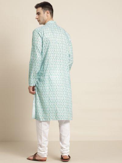 Sojanya (Since 1958) Men's Cotton Sea Green Printed Kurta & White Churidar Pyjama Set