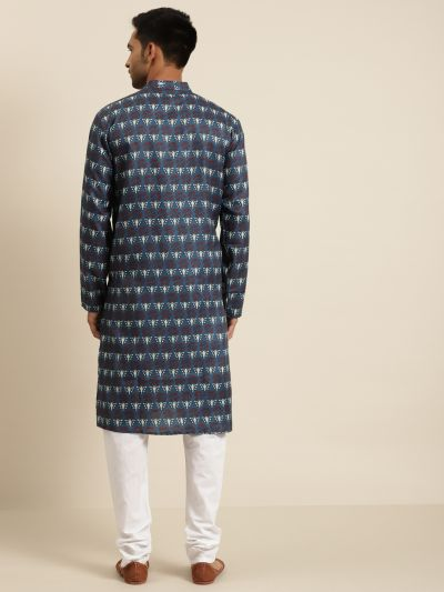 Sojanya (Since 1958) Men's Cotton Dark Grey Printed Kurta & White Churidar Pyjama Set