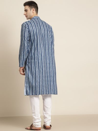 Sojanya (Since 1958) Men's Cotton Navy Blue Printed Kurta & White Churidar Pyjama Set