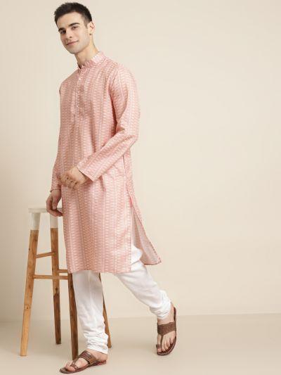 Sojanya (Since 1958) Men's Cotton Peach Printed Kurta & White Churidar Pyjama Set