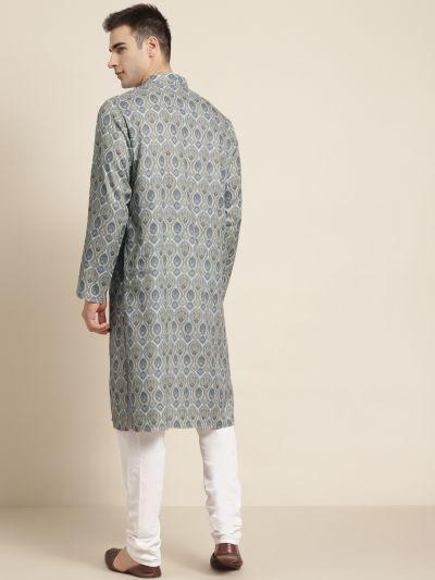 Sojanya (Since 1958) Men's Cotton Light Grey Printed Kurta & White Churidar Pyjama Set