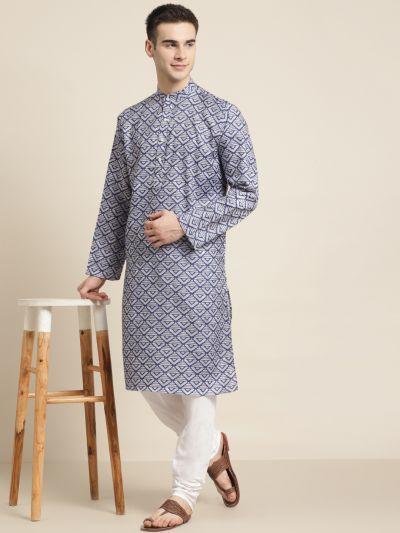 Sojanya (Since 1958) Men's Cotton Grey Printed Kurta & White Churidar Pyjama Set