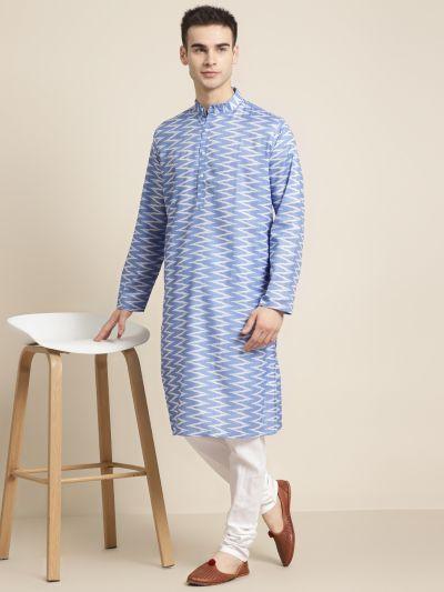 Sojanya (Since 1958) Men's Cotton Sky Blue Printed Kurta & White Churidar Pyjama Set