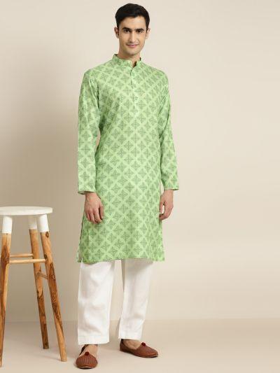 Sojanya (Since 1958) Men's Cotton Green Printed Kurta & White Churidar Pyjama Set