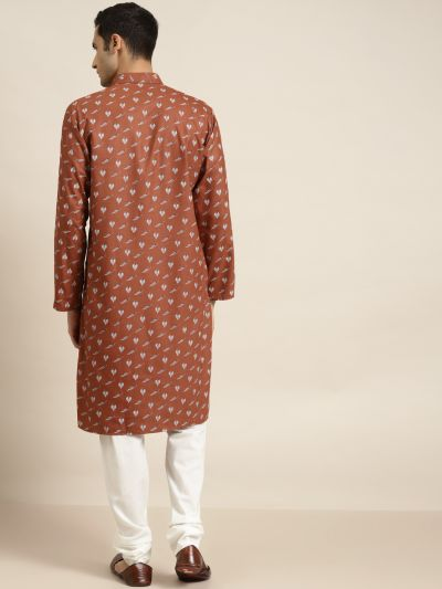 Sojanya (Since 1958) Men's Cotton Rust Printed Kurta & White Churidar Pyjama Set