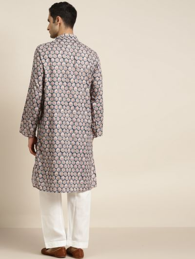 Sojanya (Since 1958) Men's Cotton Beige Printed Kurta & White Churidar Pyjama Set