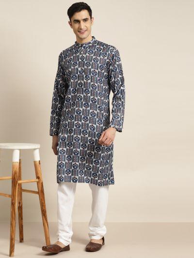 Sojanya (Since 1958) Men's Cotton Multi Printed Kurta & White Churidar Pyjama Set