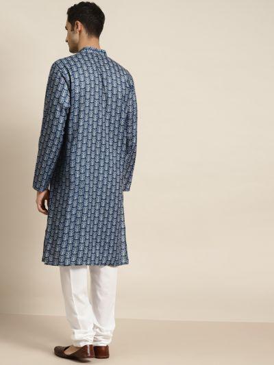 Sojanya (Since 1958) Men's Cotton NavyBlue Printed Kurta & White Churidar Pyjama Set
