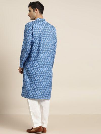 Sojanya (Since 1958) Men's Cotton Blue Printed Kurta & White Churidar Pyjama Set