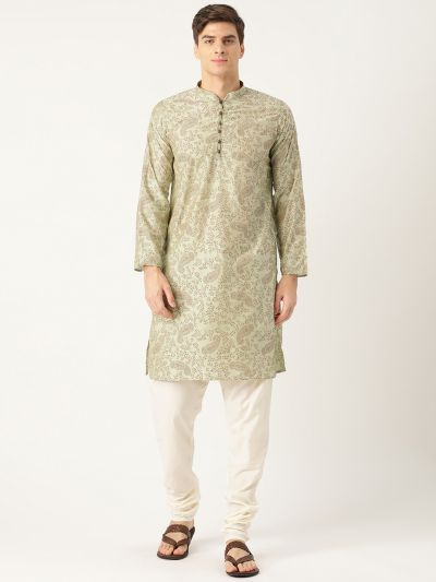 Sojanya (Since 1958), Men's Cotton Silk PistaGreen Printed Kurta & OffWhite Churidar Pyjama Set