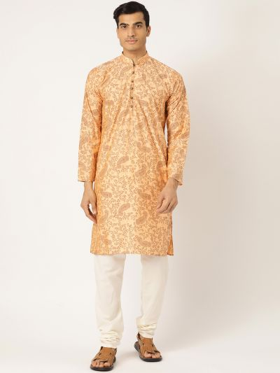 Sojanya (Since 1958), Men's Cotton Silk Peach Printed Kurta & OffWhite Churidar Pyjama Set