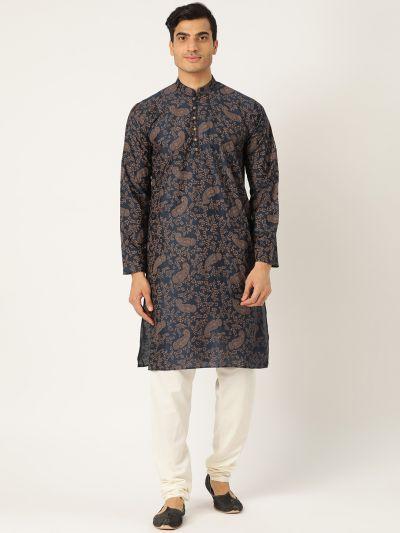 Sojanya (Since 1958), Men's Cotton Silk Navy Blue Printed Kurta & OffWhite Churidar Pyjama Set