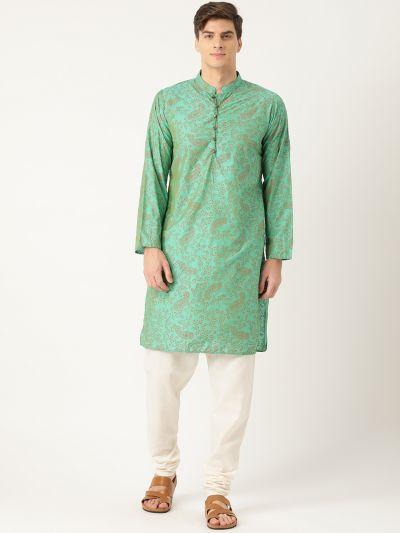 Sojanya (Since 1958), Men's Cotton Silk Sea Green Printed Kurta & OffWhite Churidar Pyjama Set