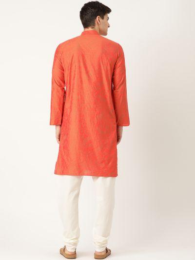 Sojanya (Since 1958), Men's Cotton Silk Orange Printed Kurta & OffWhite Churidar Pyjama Set