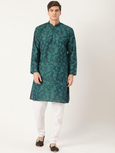 Sojanya (Since 1958), Men's Cotton Silk Black Printed Kurta & White Churidar Pyjama Set