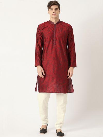 Sojanya (Since 1958), Men's Cotton Silk Maroon Printed Kurta & White Churidar Pyjama Set