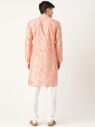 Sojanya (Since 1958), Men's Cotton Silk Peach Printed Kurta & White Churidar Pyjama Set
