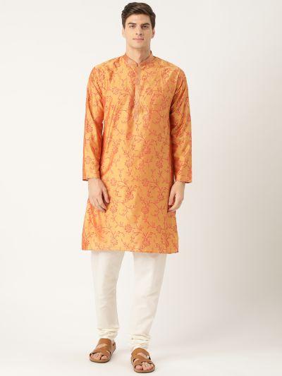 Sojanya (Since 1958), Men's Cotton Silk Gold Printed Kurta & White Churidar Pyjama Set