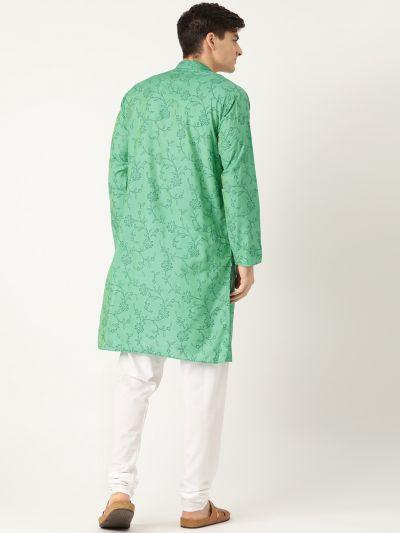 Sojanya (Since 1958), Men's Cotton Silk Sea Green Printed Kurta & White Churidar Pyjama Set