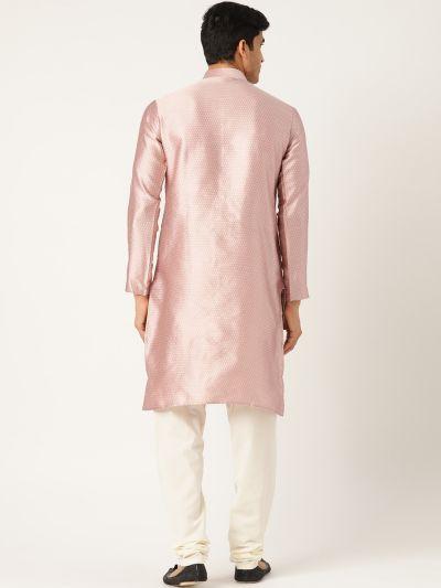 Sojanya (Since 1958), Men's Silk Blend Light Pink Solid Kurta & Off White Churidar Pyjama Set