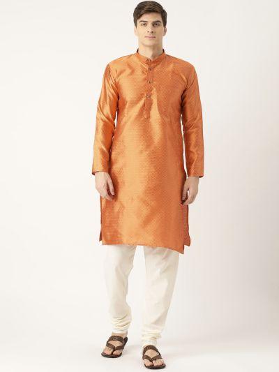 Sojanya (Since 1958), Men's Silk Blend Orange Solid Kurta & Off White Churidar Pyjama Set