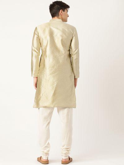 Sojanya (Since 1958), Men's Silk Blend Beige Solid Kurta & Off White Churidar Pyjama Set